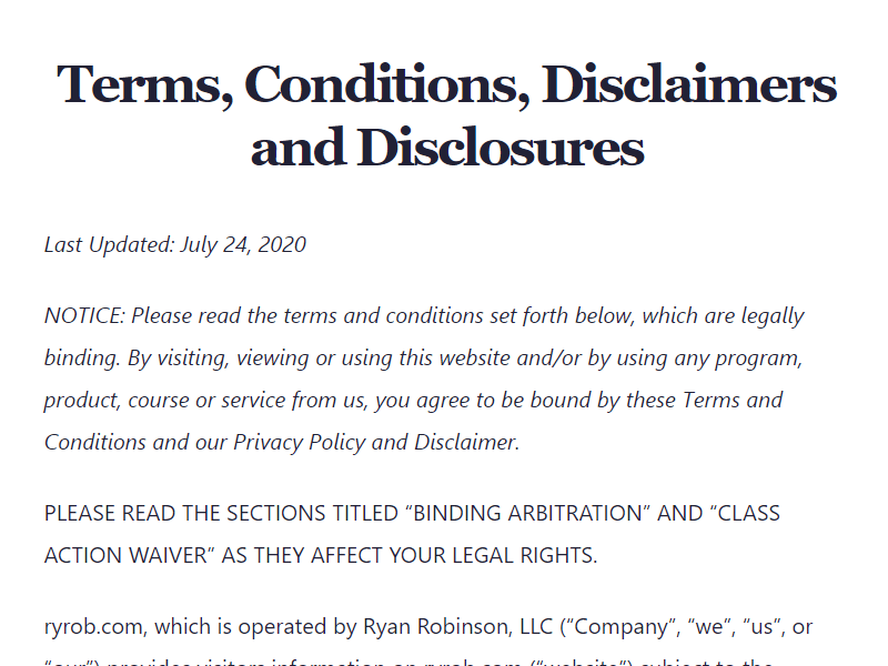 affiliate link disclosure examples